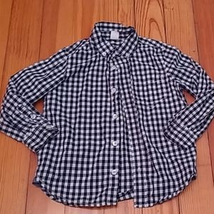 Navy blue and white plaid button down by gap